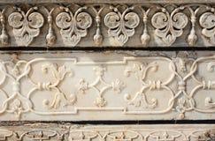 Alte geschnitzte Blume auf Marmor in Taj Mahal, Indien Lizenzfreies Stockfoto