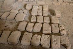 Alte geschnitzte Ziegelsteine benutzt für Bau an archäologischer Fundstätte Huaca De-La Lunas - Trujillo, Peru Lizenzfreies Stockfoto