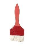 Alte getragene Bürste mit den Spuren der Farbe lokalisiert auf weißem Hintergrund Stockfotografie