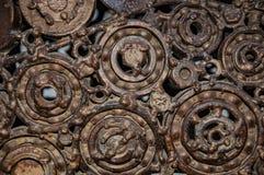 Alte, getragene, raue mechanische Gänge hergestellt vom rostigen Metall Entwurfsminimalismus Eisenzusammensetzung stockbilder
