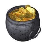 Alte Goldschatzmünzen lokalisiert auf Weiß Stockfotos