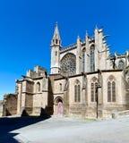 Alte gotische Kathedrale in Carcassonne, Frankreich Stockfotografie