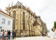 Alte gotische schwarze Kirche in Brasov, Rumänien Alte europäische Architektur Berühmter touristischer Markstein Lizenzfreies Stockbild
