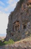 Alte Gräber im Felsen Lycia, Fethiye, die Türkei Lizenzfreie Stockbilder