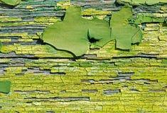 Alte grüne gebrochene Farbe auf Holz-Abschluss oben Abstrakte Beschaffenheit Backg Lizenzfreie Stockfotos