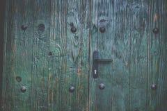 Alte grüne Holztür mit Bolzen Lizenzfreie Stockbilder