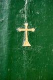 Alte grüne Holztür von orthodoxe Kirche inCorfu - Griechenland Lizenzfreie Stockfotos