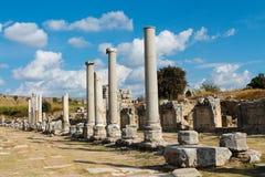 Alte griechisch-romanische Stadt Perge in Antalya stockbilder