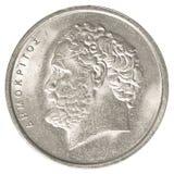 10 alte griechische Drachmen Münze Stockfotografie