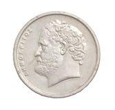 10 alte griechische Drachmen Münze lokalisiert auf weißem Hintergrund Lizenzfreies Stockfoto