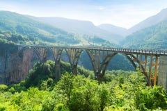 Alte große Brücke und Ansicht von Fluss Lizenzfreie Stockfotografie