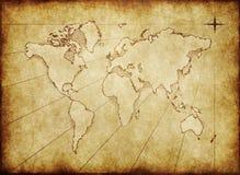 Alte grungy Weltkarte auf Papier Lizenzfreie Stockfotografie