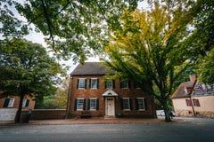 Alte Häuser in alten Salem Historic District, in im Stadtzentrum gelegenem Winst Lizenzfreies Stockfoto