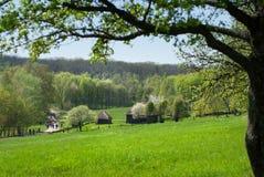 Alte Häuser auf grüner Wiese Lizenzfreie Stockfotografie
