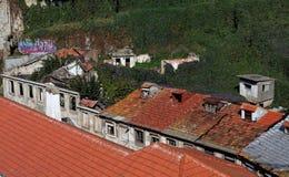 alte Häuser in den Ruinen überwältigt mit Kriechpflanzen Stockfotos