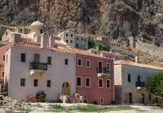 Alte Häuser der byzantinischen Stadt Monemvasia, Griechenland Lizenzfreie Stockbilder