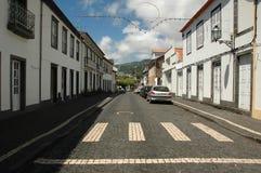 Alte Häuser in einem Azoren-Dorf Stockbild