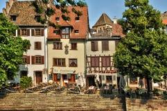 Alte Häuser im Bezirk von La Petite France in Straßburg Stockfotos