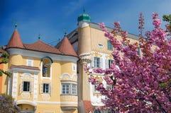 Alte Häuser im Frühjahr Stockbild