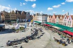 Alte Häuser im Grote Markt in Brügge, Belgien Stockfoto
