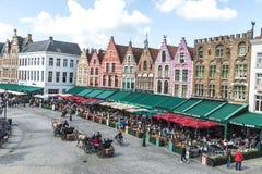 Alte Häuser im Grote Markt in Brügge, Belgien Stockfotos