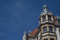 Alte Häuser in im Stadtzentrum gelegenem Karlovy Vary-Barock mit Kopienraum stockfoto
