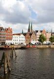 Alte Häuser in Lübeck Stockbild