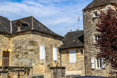Alte Häuser, Nespouls, Correze, Limousin, Frankreich Lizenzfreies Stockbild