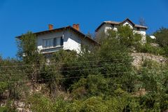 Alte Häuser vom 19. Jahrhundert in der Stadt von Melnik, Bulgarien Stockbild