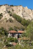 Alte Häuser vom 19. Jahrhundert in der Stadt von Melnik, Bulgarien Stockfotografie