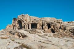 Alte Höhlestadt Uplistsikhe in der Kaukasus-Region, Georgia Lizenzfreies Stockfoto