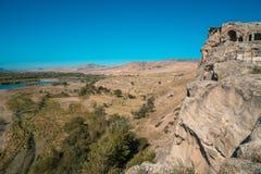 Alte Höhlestadt Uplistsikhe in der Kaukasus-Region, Georgia Lizenzfreie Stockfotos