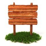 Alte hölzerne Anschlagtafel auf dem Gras Lizenzfreie Stockfotografie