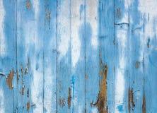 Alte hölzerne blaue gemalte Oberfläche Stockfotografie