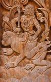 Alte hölzerne Carvings, Ramayana Lizenzfreies Stockbild