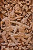 Alte hölzerne Carvings, Ramayana Lizenzfreie Stockbilder