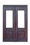 Alte hölzerne doppelte Tür lokalisiert Lizenzfreie Stockfotos
