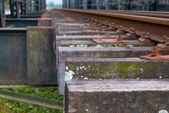 Alte hölzerne Eisenbahn der Nahaufnahme mit Flechte lizenzfreie stockbilder