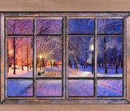 Alte hölzerne Fensteransicht Stockfoto