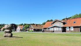 Alte hölzerne Häuser, Litauen Stockfoto
