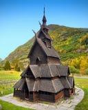 Alte hölzerne Kirche, Borgund, Norwegen Stockfotografie