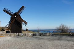 Alte hölzerne Mühle in Kiew-Region, Ukraine stockbild