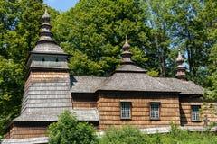 Alte hölzerne orthodoxe Kirche in Bartne, Beskids Lizenzfreie Stockfotos