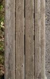 Alte hölzerne Planken, Draufsicht der Holzbank Stockfoto