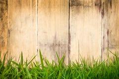 Alte hölzerne Planken mit grünem Gras in der Front Stockbild