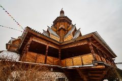 Alte hölzerne Struktur bei Izmailovsky der Kreml, Moskau Lizenzfreies Stockfoto