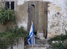 Alte hölzerne Tür Zichron Yaakov Lizenzfreie Stockbilder
