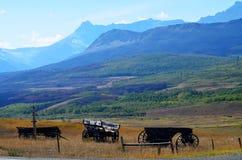 Alte hölzerne wagaons, welche die Berge übersehen Lizenzfreie Stockbilder