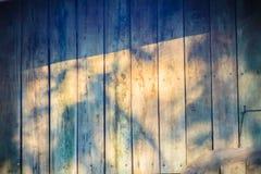 Alte hölzerne Wand mit Schatten von Baumasten Schatten eines Baums Stockfotografie