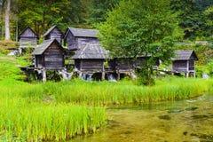 Alte hölzerne Wassermühlen, Jajce (Bosnien und Herzegowina) Stockfotografie